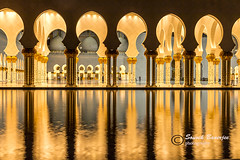 Pillars at Sheikh Zayed Mosque (souvikbanerjee) Tags: travel reflection tourism canon prayer uae mosque 7d abu dhabi