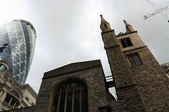 The Gherkin and St Andrew Undershaft (DncnH) Tags: city church neighbours gherkin cityoflondon stmaryaxe standrewundershaft