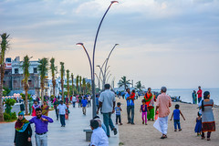 People Rock Beach (wandercrumbs) Tags: evening walk people rock beach pondicherry