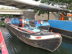 commercial boat (squeezemonkey) Tags: london canal regentscanal grandunioncanal waterway paddingtonbasin littlevenice maidavale commercialboat gas forsale bridges water tanks