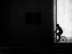into the darkness (Sandy...J) Tags: olympus light licht lines linien monochrom man mono mann mauer photography white wall wand blackwhite bw black bavarian bayern bike bicycle atmosphere atmosphre alone allein deutschland darkness dark dunkelheit noir street streetphotography sw schwarzweis strasenfotografie stadt silhouette shadow sunlight strase fotografie fahrrad einfarbig germany urban