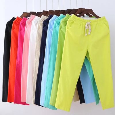 Loose Asian Ma Halun pants elastic waist cotton pants slim leisure trousers straight female summer nine-cylinder 9 pants