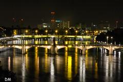 Bale...le rhin (d.massiot) Tags: bale rhin suisse riviere nuit lumire eau pont reflets