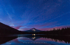 Trillium Lake Stars (thecreativeshutter) Tags: clouds dusk mthood oregon reflection stars trilliumlake
