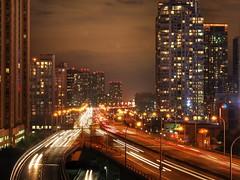 Toronto Gardiner Expressway (Krazy Diamnd) Tags: toronto skyline gardiner expressway condoalley downtown gta torontogta bluehour nightshot longexposure highview om krazydiamnd night shot blue hour hdr photomatix photoshop long exposure sky