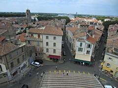 View from Amphitheatre (AmyEAnderson) Tags: outdoor rhone river neighborhood town village rooftops steps stairs historic buildings houses landscape horizon arles france bouchesdurhone provence view windows shutters