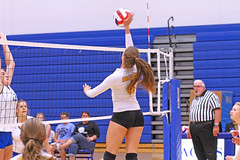 IMG_5436 (SJH Foto) Tags: girls volleyball high school lancaster mennonite pa pennsylvania team tween teen teenager varsity net battle spike block action shot jump midair burst mode contact impact