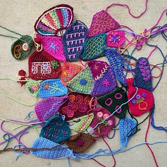 An overview of the crochet crazy quilt pieces completed so far (crochetbug13) Tags: crochet crocheted crocheting crazyquilt crazy quilt 2016 northcarolina statefair embroider blanketstitch embroidery embroidered bullion frenchknot knot
