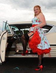 Ange L'Que_8823 (Fast an' Bulbous) Tags: nylons stockings stilettos high heels dress car vehicle american classic oldtimer girl woman hot sexy milf mature