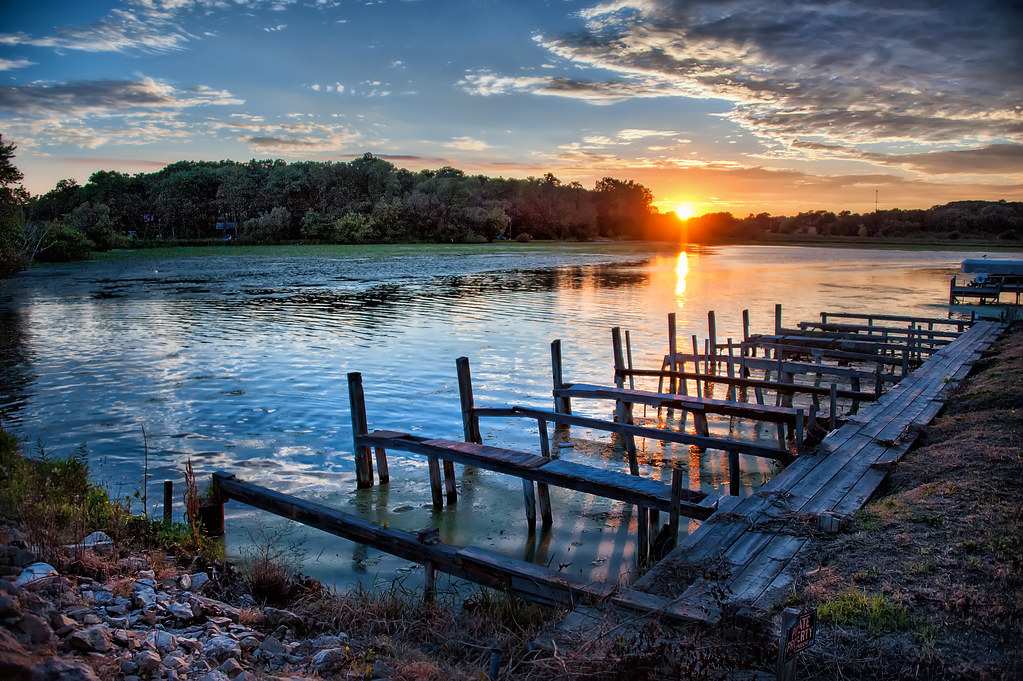 An old pier in Green Lake Wisconsin.