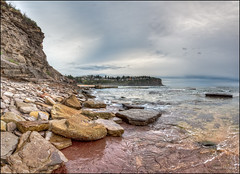 A little more wet with every wave (JustAddVignette) Tags: australia beach bilgolabeach clouds cloudysunrise early headland landscapes newsouthwales nosun northernbeaches ocean panorama risingtide rockpool rocks sea seascape seawater sky sydney water