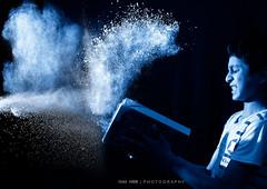 Dad..Don't ask me to read again!!!! mind it.... (Ram Iyer Photography) Tags: canon5dmkii single singelighting onelight 580exii speedlite speedlight spectacular crisp tak taksharp calvin scott action freeze highspeedsync hp hss powder kids school boy amazing creativity creative thinking nikon canon 28135mm adobe photoshop blackwhite