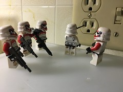 """Do it! Do it! Do it!"" ""Come on, we all did it and now look at us, Shocktroopers."" (kevinmboots77) Tags: shocktroopers stormtroopers starwars lego legography"
