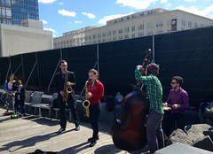 Saturday afternoon jazz (JuhaOnTheRoad) Tags: music usa newyork brooklyn drums bass band streetphotography jazz williamsburg saxophone tenorsax iphone