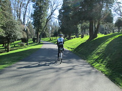 Kevin climbing up through the cemetery (Lynne Fitz) Tags: bicycle oregon sweetpea 100k permanent populaire randonneur