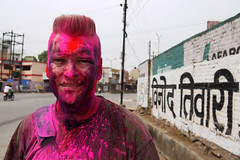 Holi celebration in Raipur, Chhattisgarh 2013 (sensaos) Tags: asia india chhattisgarh raipur capital celebration festival color colour hindu religion religious people street travel sensaos 2013 portrait holi coloured face