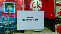 Sorry Were Still Close (Brian Candy) Tags: sign restaurant closed king chow doha qatar chowking abuhamour daralsalam