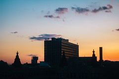 Chicago Sunset (drewrios) Tags: blue sunset sky orange sun chicago west film skyline night canon toys golden illinois pretty apartment great north drinking minimal il condo hour gradient 2012 60d