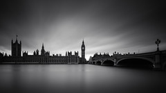 Parliament (vulture labs) Tags: longexposure light blackandwhite bw london water monochrome westminster clouds river mono day housesofparliament parliament bigben monochromatic filter crop nd daytime 169 riverthames westminsterbridge density ratio lightroom neutral londonskyline westminsterpalace daytimelongexposure nd