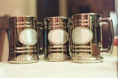 Beer Mugs (Burrosito_Bandito) Tags: wedding party man film cup beer dinner 35mm garden mugs groom backyard married minolta kodak marriage wed best cups mug booze stein newlywed vows engraved steins engrave xg1