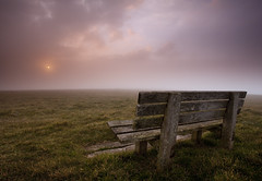 Contemplation Bench (JamboEastbourne) Tags: park sunset england cloud fog bench downs sussex head south east national beachy