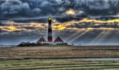 the beacon (Pale Male) Tags: sunset lighthouse clouds sonnenuntergang wolken sunrays nordsee hdr d800 wattenmeer stpeterording leuchturm westerheversand nordseekste