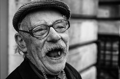 Laughter... (alfie2902) Tags: street nottingham uk people bw monochrome mono blackwhite pentax availablelight candid streetphotography streetportrait smc k5 smcpentaxfa43mmf19limited blackwhitestreetphotography alfiewright