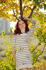(Ole Lukoie) Tags: park autumn trees light red portrait girl beauty smile face leaves hair redhair            kazakhsta   aktau