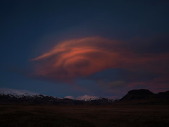 Lone cloud (h) Tags: blue sunset red sky cloud mountains landscape march iceland dusk brfell mrdalsjkull 2013