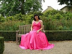 New ball gown (Paula Satijn) Tags: pink girl lady garden outside dress skirt tgirl gown satin chteau gurl hotpink ballgown