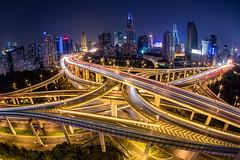 Shanghai Highway (Sandro Bisaro) Tags: china city skyline night highway cityscape shanghai junction fisheye clear intersection expressway 中国 上海 puxi yanan elevatedexpressway elevatedhighways 南北高架路 延安高架路 yananelevatedroad canon5dmarkiii tokinaaf1017mmf3545atxdxfisheye ninedragonspillarintersection