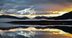 Acharacle sunrise (Alison Porwol) Tags: reflection sunrise lochshiel ardnamurchan scottishhighlands acharacle scottishloch hangingcloud greatbritishlandscape