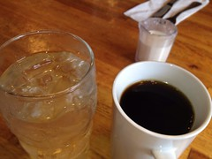 May 16: Water and Coffee (earthdog) Tags: apple cup water glass coffee moblog restaurant coffeecup cellphone 4s iphone project365 2013 iphoneography iphone4s 3652013 appleiphone4s uploaded:by=flickrmobile flickriosapp:filter=nofilter