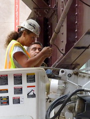 Woman at work--CTA electrician