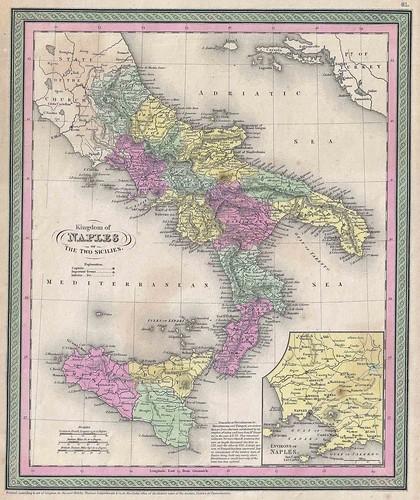 1853_Mitchell_Mapa Sud Italia Regno delle due Sicilie