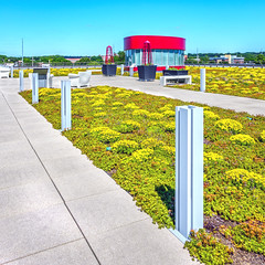 Cedar Rapids Library Green Roof Furnishings (ken mccown) Tags: architecture greenroof cedarrapids cedarrapidspubliclibrary opnarchitects