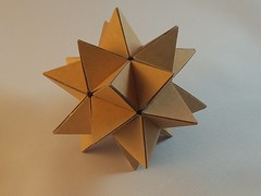Cardboard Stellated Icosahedron (Happy Monkey) Tags: art arts crafts handmade hobby ornament model sculpture doodad geometric polygon polygons polyhedron polyhedra photo stilllife symmetry cardboard icosahedron stellatedicosahedron stellated