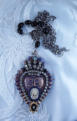 Virgin Mary Cameo Ex-Voto Style Flaming Heart Necklace (inspirational) Tags: handcraftedcatholicjewelry religiousjewelry catholicnecklace religiousnecklace handmade joyeriacatolica joyeriareligiosa exvoto flamingheart corazon virginmary virgenmaria cameo camafeo rhinestones crown corona alteredartnecklace assemblagenecklace alteredartjewelry collarcatolico