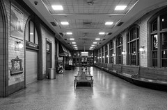 unaligned (236) (Beau Finley) Tags: monochrome blackandwhite beaufinley baltimorepennstation pennstation amtrak train trainstation baltimore maryland night interior 365 project365 hall architecture