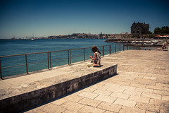 Lonely Vacation (Gilderic Photography) Tags: cascais ocean woman lonely vacation bench house phone canon 500d gilderic