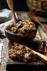 eggplant paste in a wooden bowl (Zoryanchik) Tags: eggplant paste food bread dip cuisine vegetable meal vegetarian puree healthy snack appetizer roasted pepper caviar traditional diet delicious mediterranean aubergine tomato red cold lunch garlic vegan spread rustic