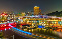 Clarke quay night scape. (jaywu429) Tags: outdoor lights sky skyline bridge hotels bars tokina1628mm boats clarkequay cityscape colours nightscape nightshot landscpae sonya7r sony tokina singapore
