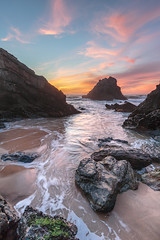 Beach at sunset (paulo.maxim) Tags: sunset adragabeach beach lovebeach pnsc portugal almoageme sand water waves canon6d canon1635mmf4is clouds redsunset flowing calm holidays vacations