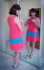 Pink & blue (blackietv) Tags: pink blue short summer dress wedges mirror tgirl transvestite crossdresser crossdressing transgender