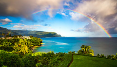 Hanalei Rainbow (Michael Zampelli) Tags: balihai hawaii hideaways kauai palikekua princeville timeexposure beach coast rainbow rocks sea water