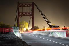 Night bridge (cypriencharra) Tags: outside landscape bridge night lighttrail cars france europe hrault