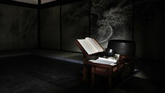 Doragons in dark waves / Kyoto Daitokuji  Ryogenin temple (maco-nonchR(on/off)) Tags: daitokuji temple ryogenin   zen buddhism        dragon wave  fusuma culture japaneseculture tatami lights shadow dark darkness  nanga painting paintings  art famous drawing
