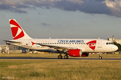 Czech Airlines A319-100 OK-REQ (birrlad) Tags: prague prg international airport czech republic aircraft aviation airplanes airplane airliner airlines airline airways taxiway taxi takeoff departing departure runway sunlight sunset evening airbus a319 a319100 a319112 okreq csa