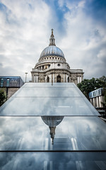St Paul's: The Conversion - Explored (DobingDesign) Tags: stpaulscathedral stpauls sky cloud reflection architecture historic historiclondon iconiclondon iconicbuildings london reflections glass dome sirchristopherwren panels lines onenewchange outdoor building landmark