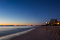 Start of the Day (satochappy) Tags: dawn sunrise morning beach ocean sky morningglow australia queensland qld goldcoast serene coast shore pacificocean blue bluehour  skyline highrise